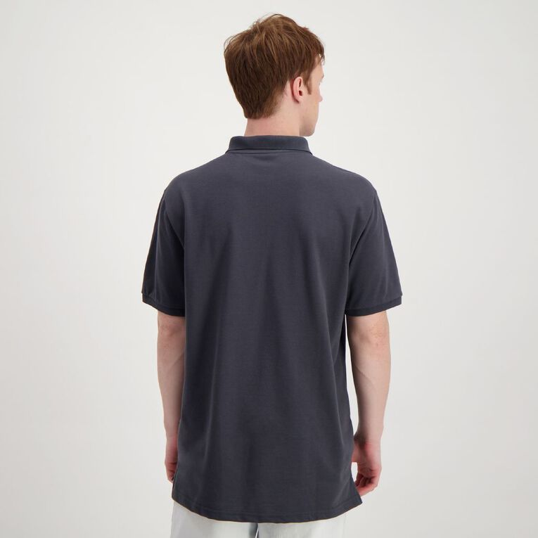 H&H Men's Plain Pocket Polo, Grey/Charcoal, hi-res