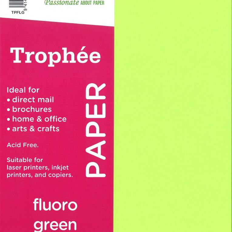 Trophee Paper 80gsm 30 Pack Fluoro Green A4, , hi-res