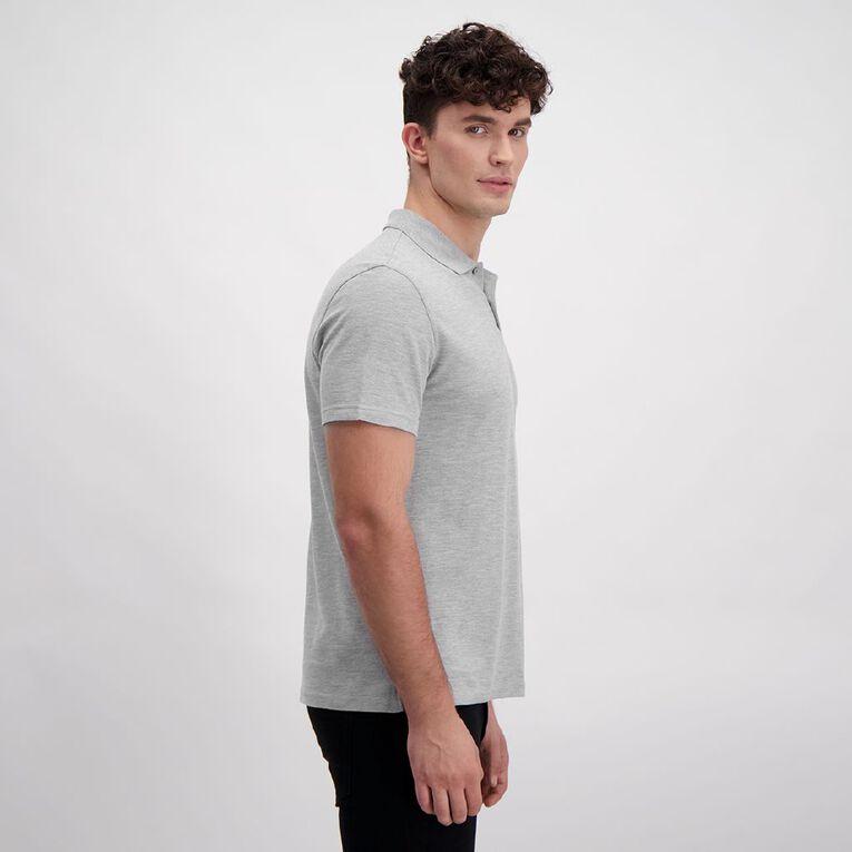H&H Men's Short Sleeve Plain Pique Polo, Grey Mid, hi-res