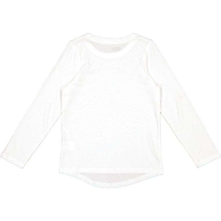 Young Original Long Sleeve Plain Tee, White, hi-res