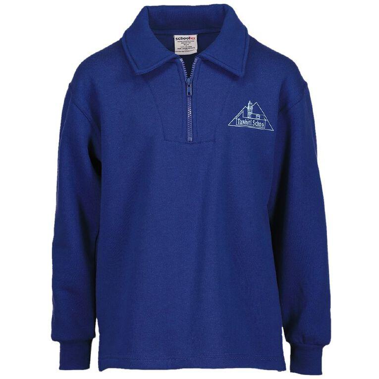 Schooltex Tawhiti Zip Tunic Sweatshirt with Embroidery, Royal, hi-res