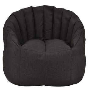 Living & Co Bean Bag Chair Cover Black Linen Look 300L