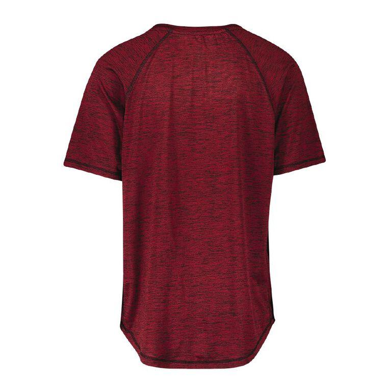 Active Intent Men's Scoop Hem Short Sleeve Tee, Red Dark, hi-res