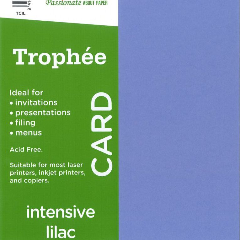 Trophee Card 160gsm 15 Pack Intensive Lilac Purple A4, , hi-res