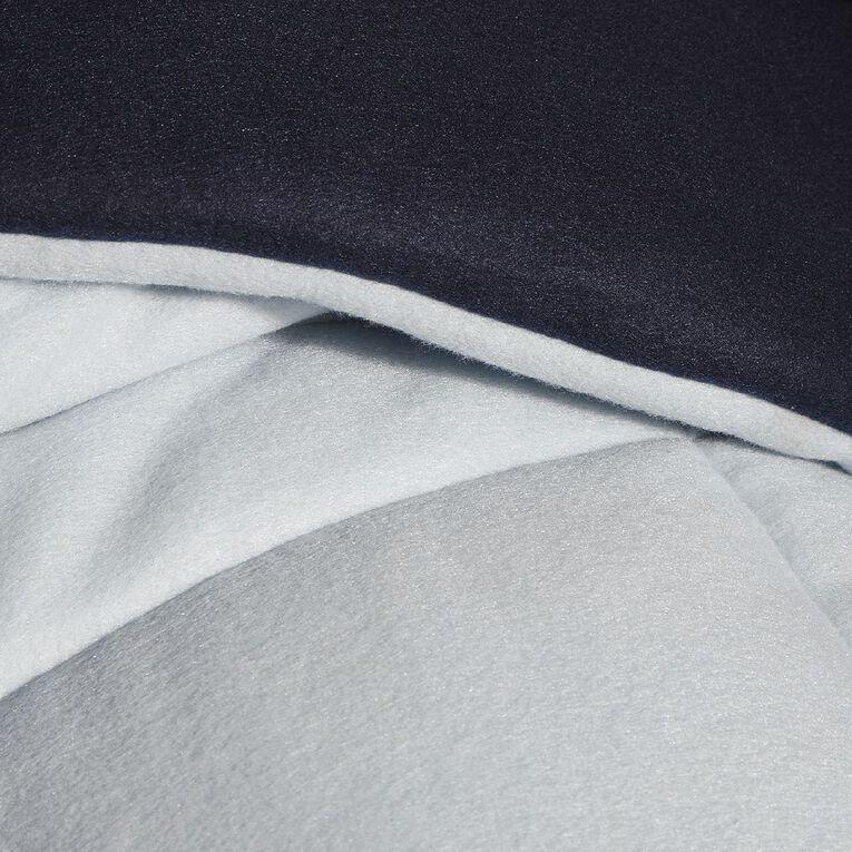 Living & Co Comforter Set Polar Fleece Navy Queen, Navy, hi-res