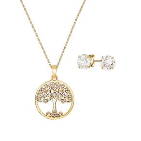 Mestige Swarovski Gold Plated Back to Nature Earrings Necklace Set