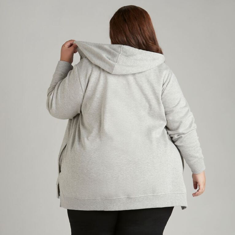 H&H Plus Women's Zip Thru Hoodie, Grey Marle, hi-res
