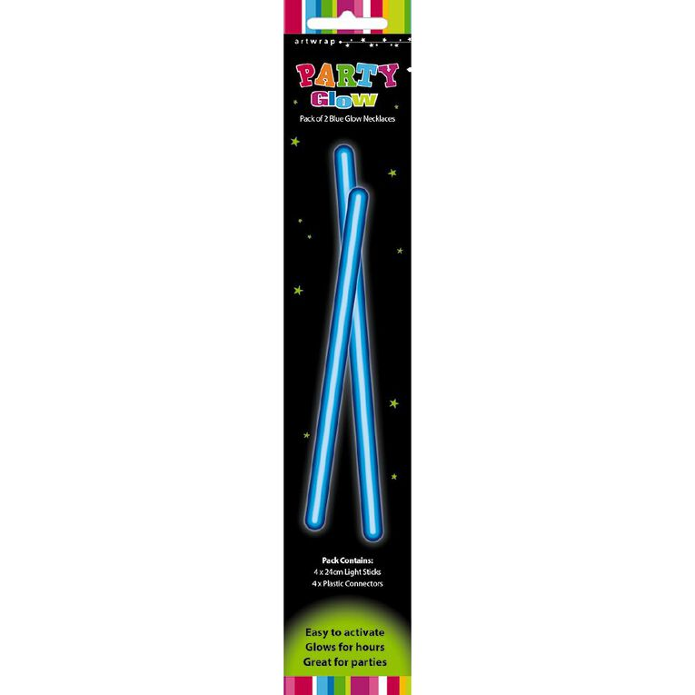 Artwrap Glow Necklace 48cm Blue 2 Pack, , hi-res