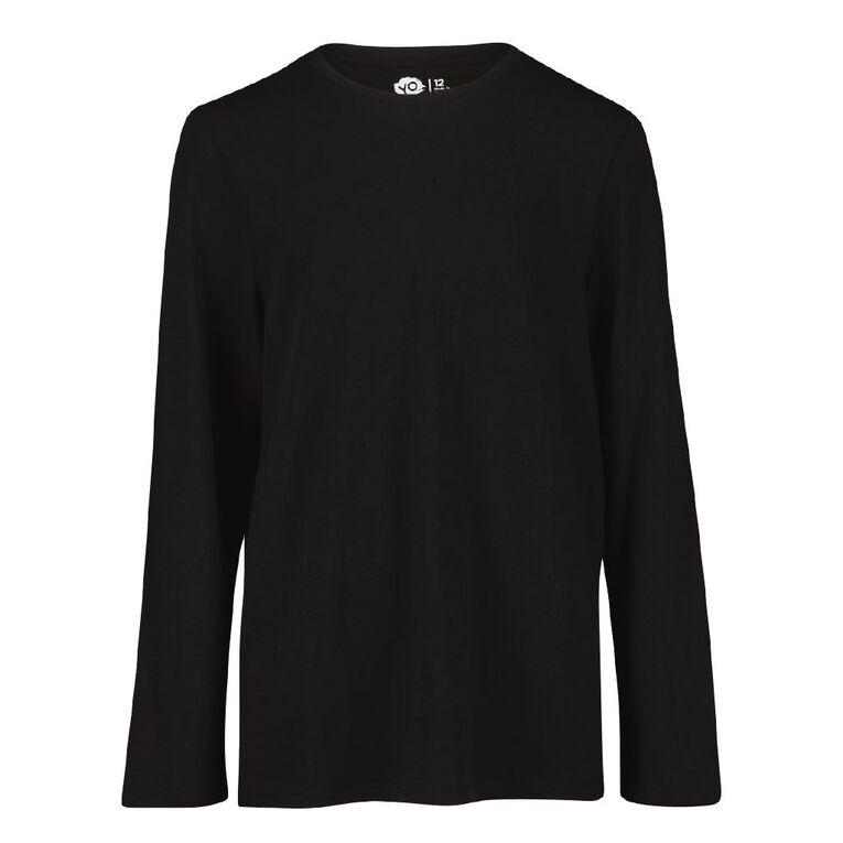 Young Original Plain Long Sleeve Tee, Black, hi-res