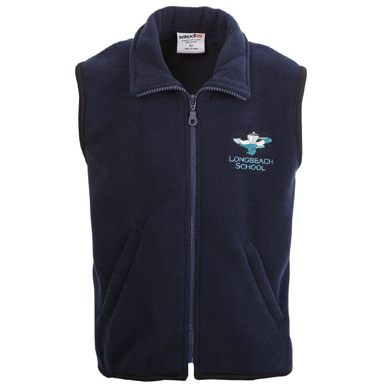 Schooltex Longbeach Polar Fleece Vest with Embroidery, Navy, hi-res
