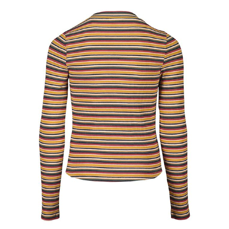 Young Original Long Sleeve Rib Top, Yellow Dark, hi-res