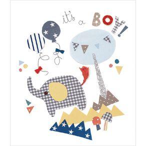 John Sands Baby Card Fabric Elephant Baby Boy