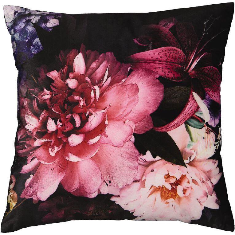 Living & Co Print Velvet Cushion Black/Pink 43cm x 43cm, Black/Pink, hi-res