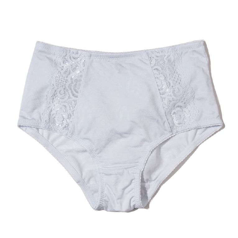 H&H Women's Jacquard & Lace Full Briefs, White, hi-res