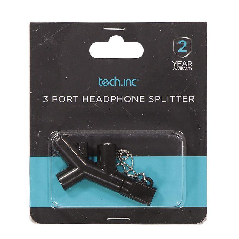 Tech.Inc 3 Port Headphone Splitter Black, , hi-res