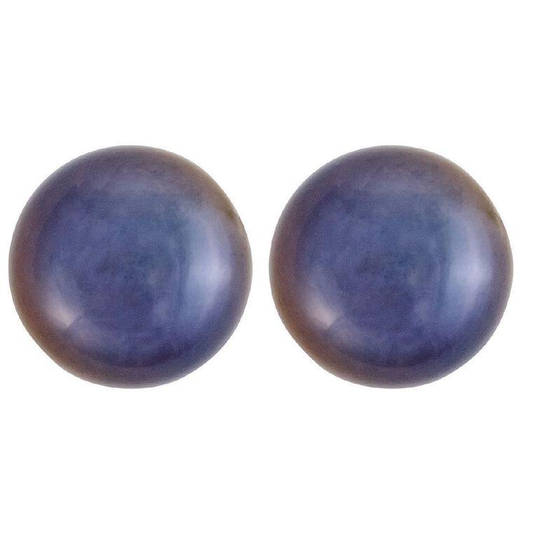 Sterling Silver Black Fresh Water Pearl Stud Earrings 7-8mm, , hi-res