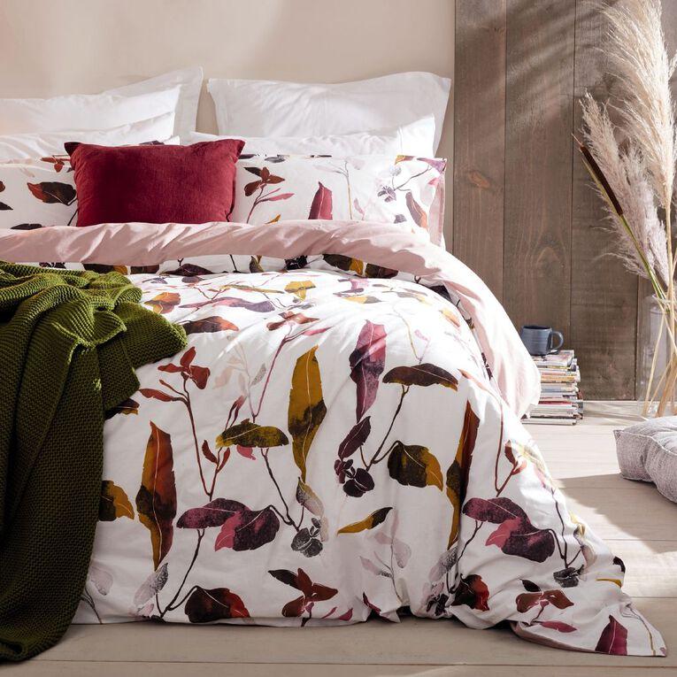 Living & Co Duvet Cover Set Cotton Botanical Pink King, Pink, hi-res