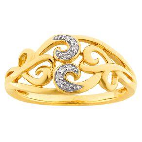 0.04 Carat Diamond 9ct Gold Fancy Filigree Ring