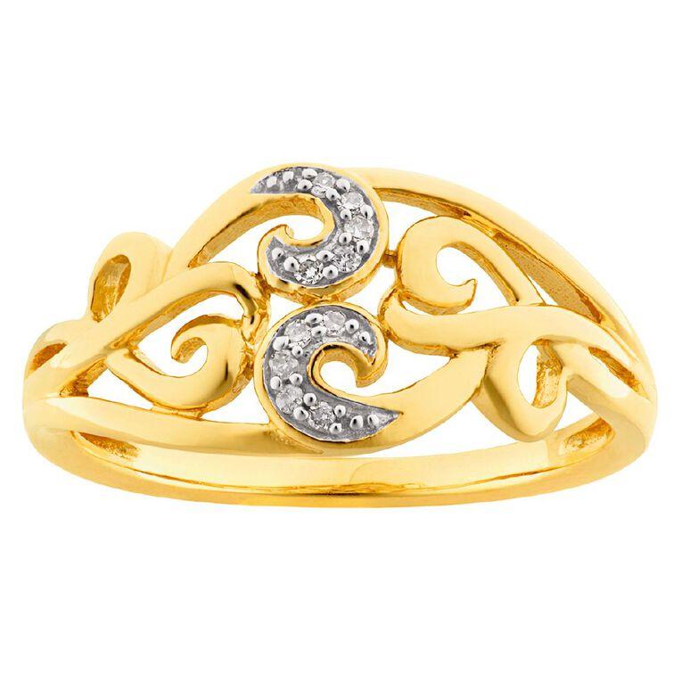 0.04 Carat Diamond 9ct Gold Fancy Filigree Ring, Yellow Gold, hi-res