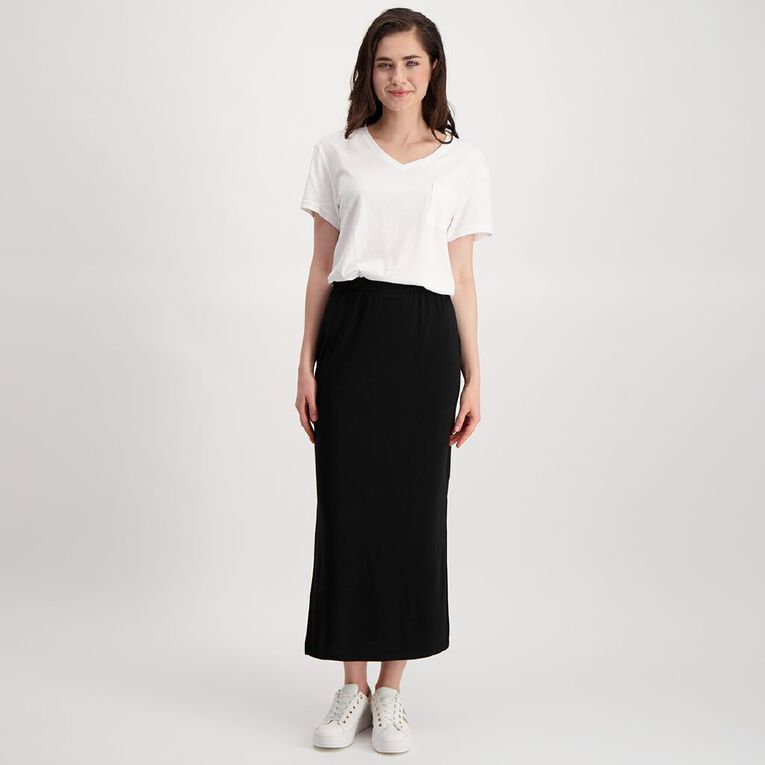 H&H Women's Knit Maxi Skirt, Black, hi-res