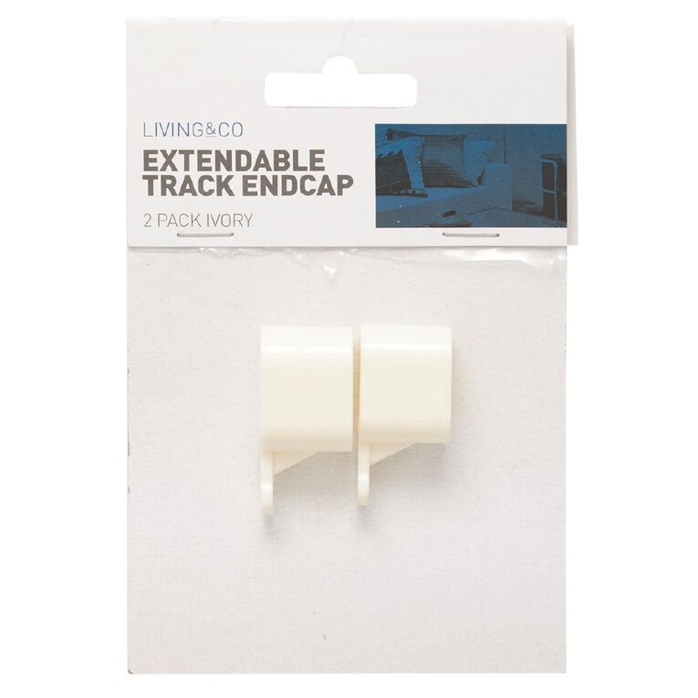 Living & Co End Caps for Extendable Curtain Track Ivory 2 Pack, Ivory, hi-res