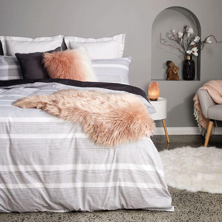 Living & Co Duvet Cover Set Cotton Bennie Stripe Grey Queen, Grey, hi-res