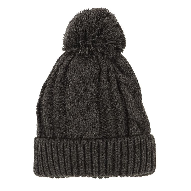 H&H Women's Cable Pom Pom Beanie, Charcoal/Marle, hi-res