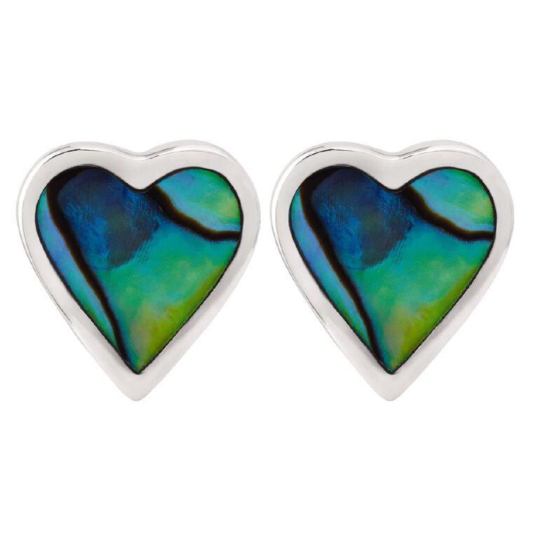 Sterling Silver Paua Heart Stud Earrings, , hi-res