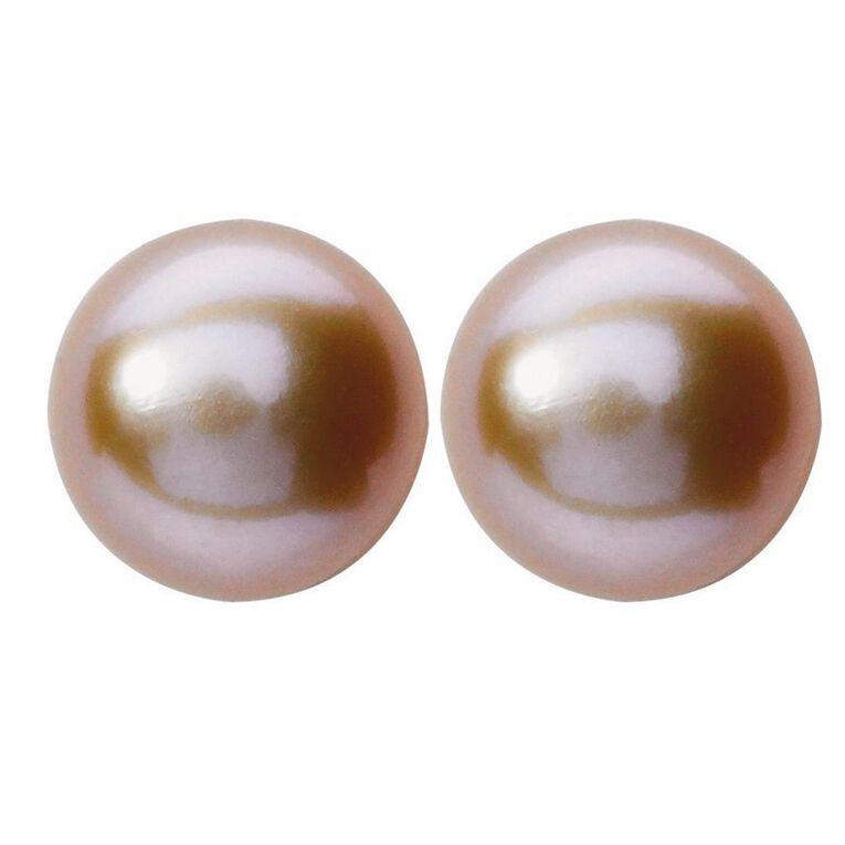 Sterling Silver Pink Fresh Water Pearl Stud Earrings 7-8mm, , hi-res