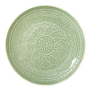 Living & Co Glazed Moroccan Dinner Plate Sage Green