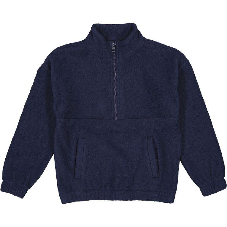 Young Original Microfibre Funnel Zip-Thru Sweatshirt, Blue Dark, hi-res image number null