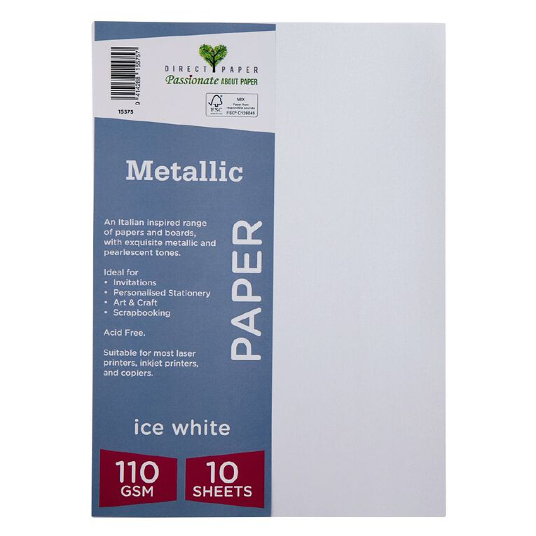Direct Paper Metallic 110gsm 10 Pack Ice White A4, , hi-res