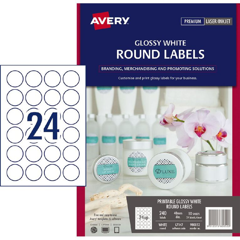 Avery Glossy Round Labels White 40mm diameter 240 Labels, , hi-res