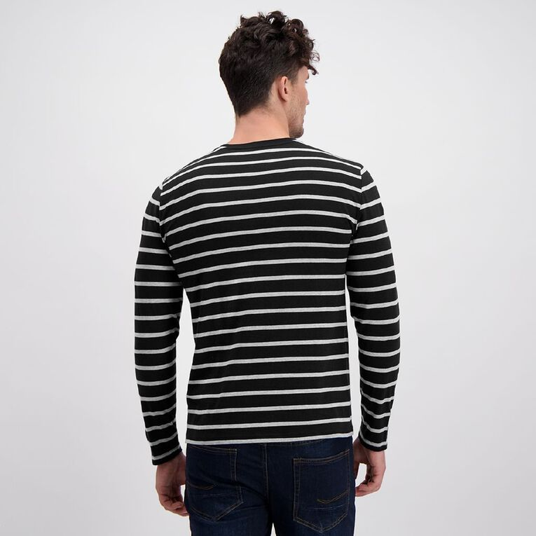 H&H Men's Crew Neck Long Sleeve Stripe Tee, Black, hi-res