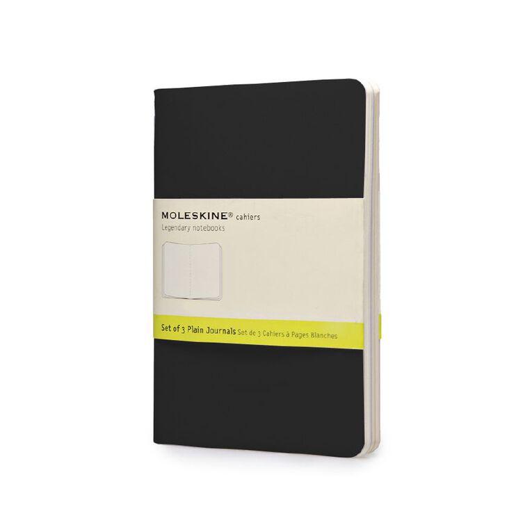 Moleskine Cahier Notebook Unruled 3 Pack Black, , hi-res