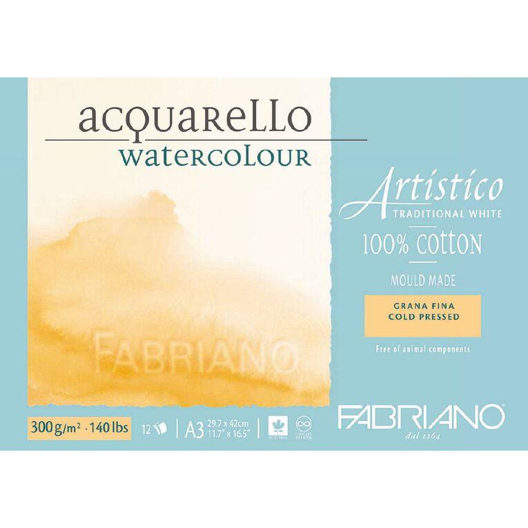 Fabriano Artistico Watercolour Pad Cold Pressed 300GSM 12 Sheets A3, , hi-res