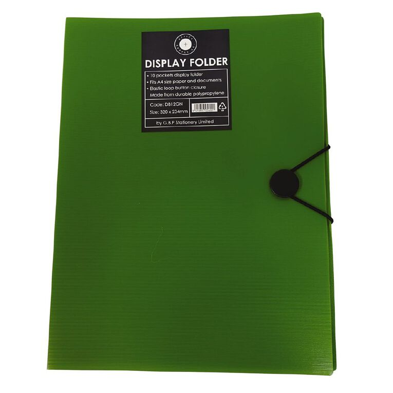 Office Supply Co Display Book 10 Pages Elastic Loop Closure Green A4, , hi-res