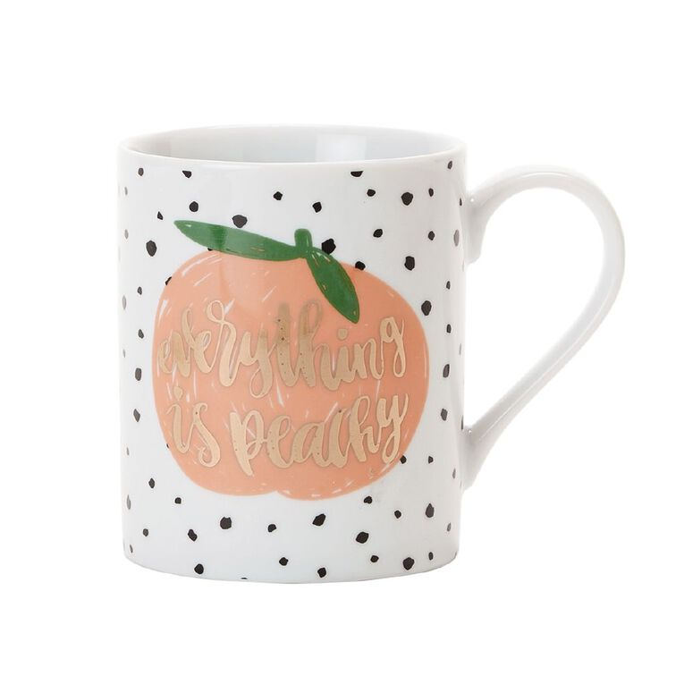 Living & Co Foil Printed Mug Peachy Multi-Coloured, , hi-res