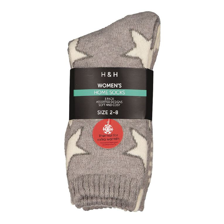 H&H Women's Home Socks 3 Pack, Grey Light, hi-res image number null
