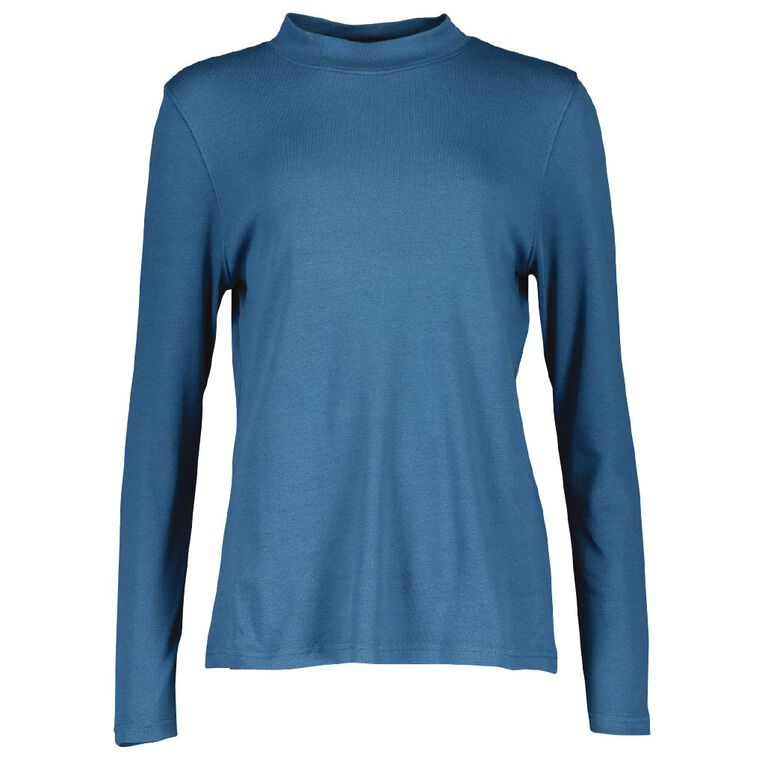 Pickaberry Women's Turtle Neck Top, Blue Mid, hi-res image number null