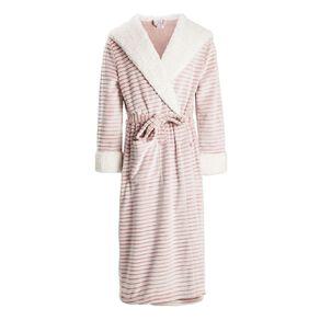 H&H Women's Hooded Stripe Robe
