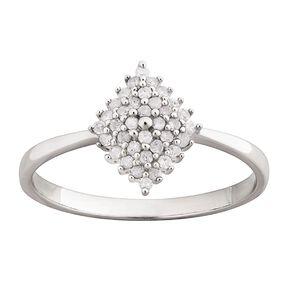 0.25 Carat Diamond Sterling Silver Pyramid Ring