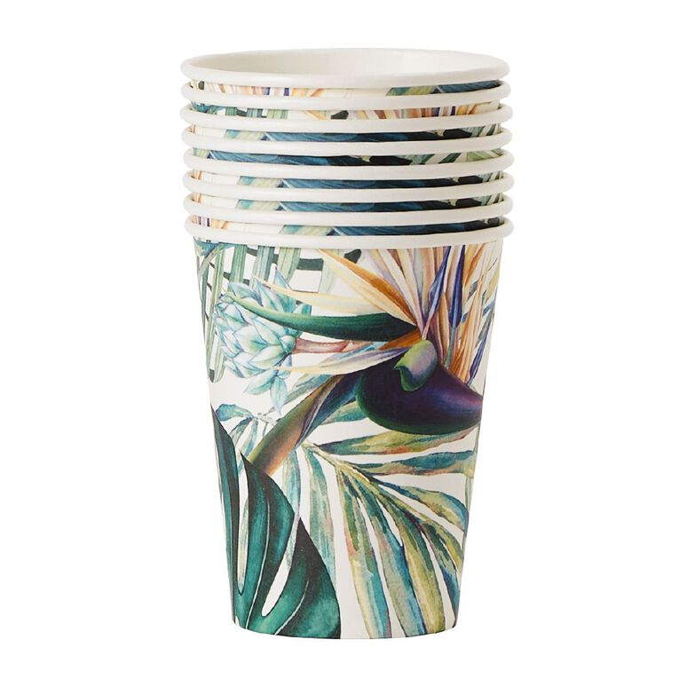 Party Inc Teal Tropical Paper Cups 250ml 8 Pack, , hi-res image number null