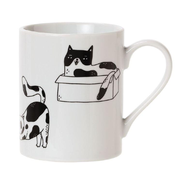 Living & Co Printed Cat Mug Multi-Coloured, , hi-res