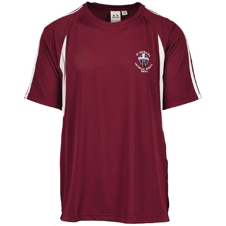 Schooltex St Patrick's Taupo PE Tee with Embroidery, Maroon/White, hi-res