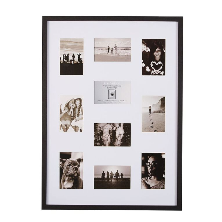 Living & Co Premium Collage Frame 10 Opening Black 4in x 6in, , hi-res