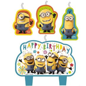 Despicable Me 3 Minion Made Birthday Candle Set 4 Pack