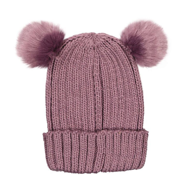 Young Original Girls' Pom Pom Beanie, Purple, hi-res image number null