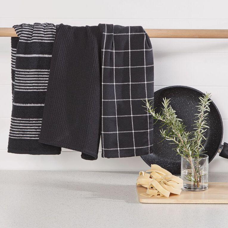 Living & Co Aria Tea Towel Set 3 Pack Black 40cm x 65cm, , hi-res