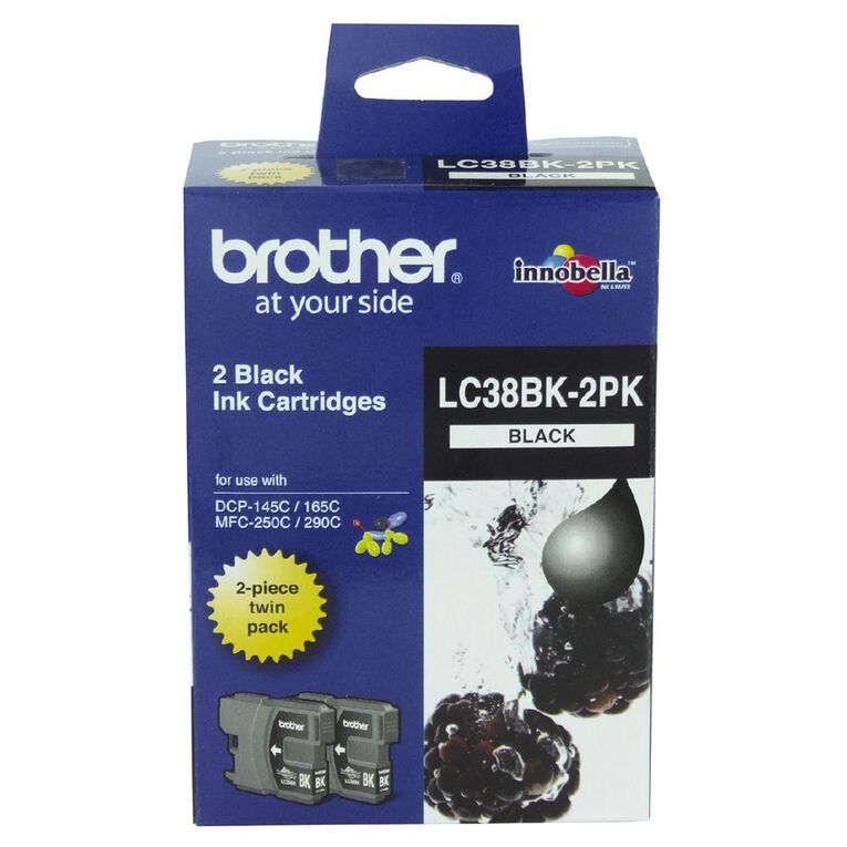 Brother Ink LC38 Black 2 Pack (300 pages), , hi-res